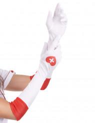 Handsker lange hvide sygeplejerske