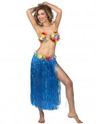 Nederdel Hawaii-skørt lang blå til voksne