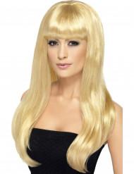 Paryk lang blond med pandehår