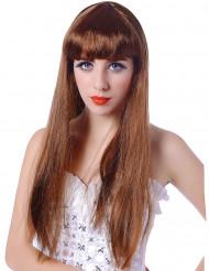 Paryk lang brunette med pandehår