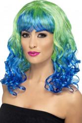 Eventyrlig blå og grøn paryk
