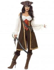 Kostume pirat brun til kvinder