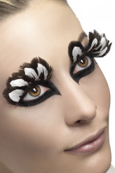Brune og hvide falske øjenvipper af fjer til voksne