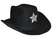 Sort cowboyhat med sherifstjerne
