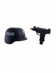 Militærsæt hjelm og våben i plastik