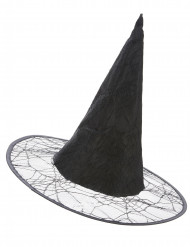 sort Heksehat med spindelvæv voksen Halloween