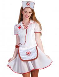 Rødt og hvidt sygeplejerskekit til voksne