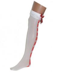 Hvide sygeplejerske strømpebukser med rødt bånd