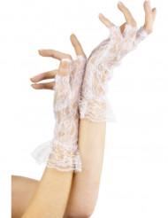 Hvide fingerløse handsker i blonde kvinde