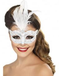 Maske sølv med hvide fjer voksenstørrelse
