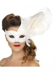 Maske hvid med hvide fjer voksenstørrelse