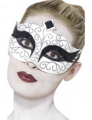 Hvid maske med sorte og sølvfarvede pailletter voksenstørrelse