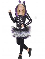 Skelet kostume lilla kat til piger