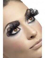 Lange sorte falske øjenvipper voksen