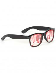 Sorte briller med blodspor