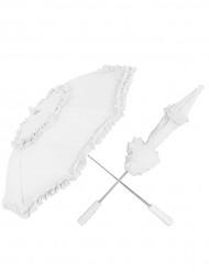 Hvid parasol med blonder