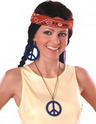 Peace-øreringe og halskæde
