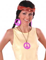 Lyserøde hippieøreringe og halskæde