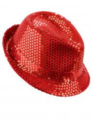 Rød paillethat voksen
