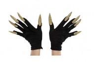 Sorte handsker til voksne med fastlimede gyldne negle