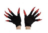 Sorte handsker til voksne med fastlimede røde negle