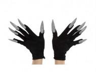 Sorte handsker til voksne med fastlimede sølvglinsende negle