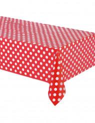 Rød plastikdug med hvide prikker 137 x 274 cm