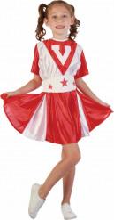 Rødt og hvidt cheerleaderkostume til piger