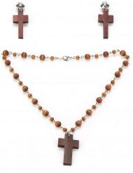 Et sæt med en religiøs halskæde og øreringe til kvinder