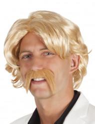 Blond paryk og overskæg til mænd