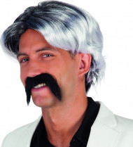Grå paryk og overskæg til mænd