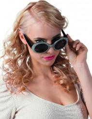 Sorte og sølvglinsende briller