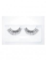 Lange sølvfarvede kunstige øjenvipper voksne