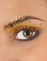 Lange guldfarvede kunstige øjenvipper voksne