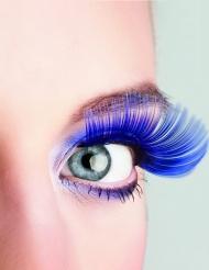 Lange blå kunstige øjenvipper voksne