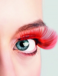 Lange røde kunstige øjenvipper voksne