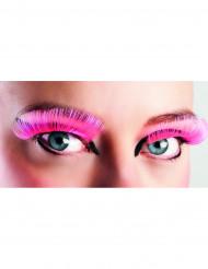 Lange lyserøde kunstige øjenvipper voksne