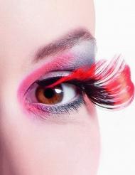 XL kunstige øjenvipper i sort og rød voksne
