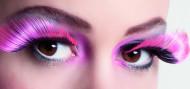 XL kunstige øjenvipper i lyserød og sort voksne