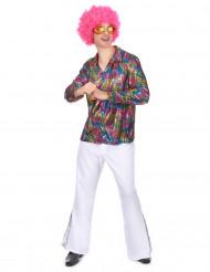 Multifarvet diskoskjorte Voksen