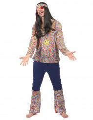 Farvestrålende hippiekostume