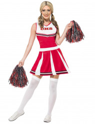 Udklædning Cheerleader rød sort og hvid kvinde