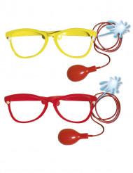 Kæmpebriller til klovn med sprøjte voksen