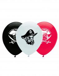 6 Piratballoner i sort, hvid og rød