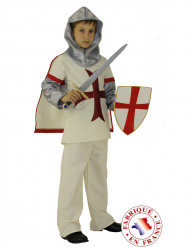 Hvidt korsridderkostume til drenge