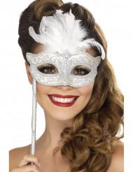 Sølvfarvet venetiansk maske med hvide fjer voksen