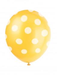 Balloner 6 stk gul med hvide prikker