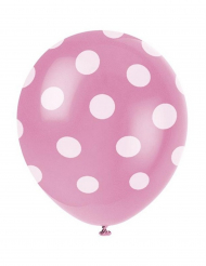 6 Lyserøde Balloner med hvide prikker