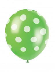 6 Balloner grønne med hvide prikker