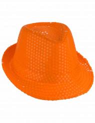 Orange hat med pailletter voksen